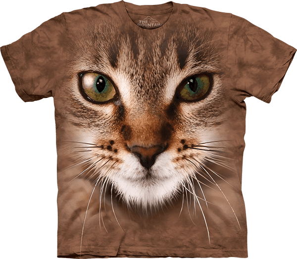 Striped Cat Face T-shirt By The Mountain